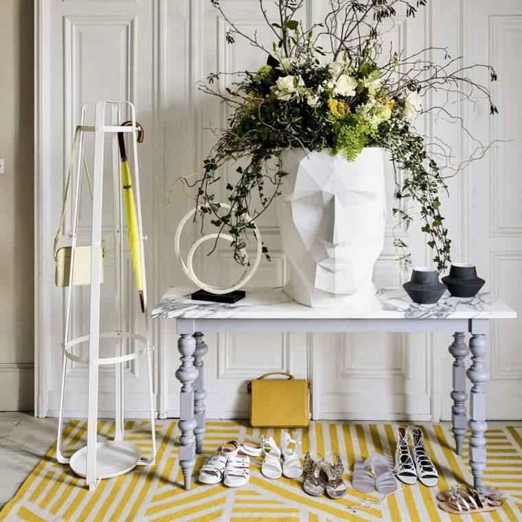 muebles recibidor-pasillo-entrada-combinacion-blanco-amarillo