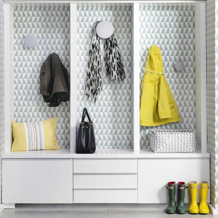 muebles-recibidor-pasillo-entrada-papel-geometrico