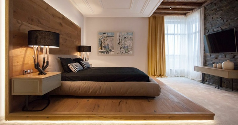 cama con plataforma de madera