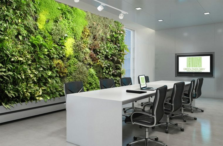 conference room with green panel