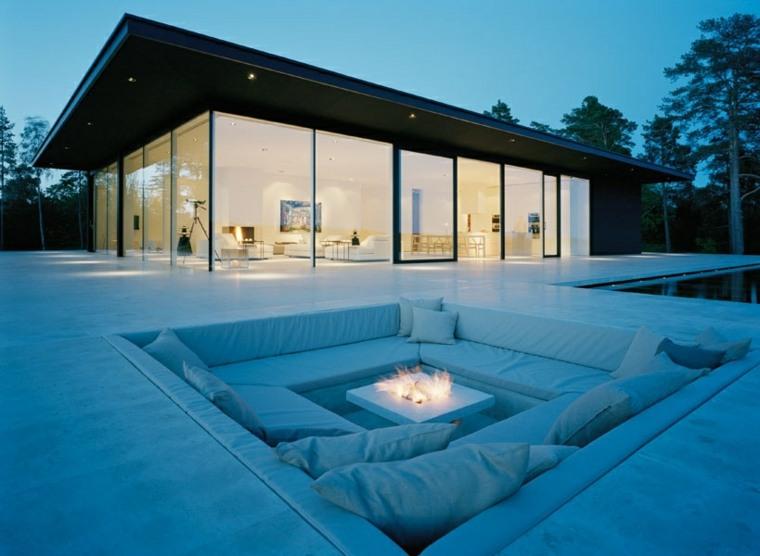 salón ideas creativas-jardin-pozo-fuego-blanco