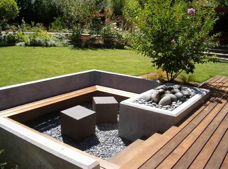 salón ideas creativas-jardin-pozo-fuego-espacios-pequenos