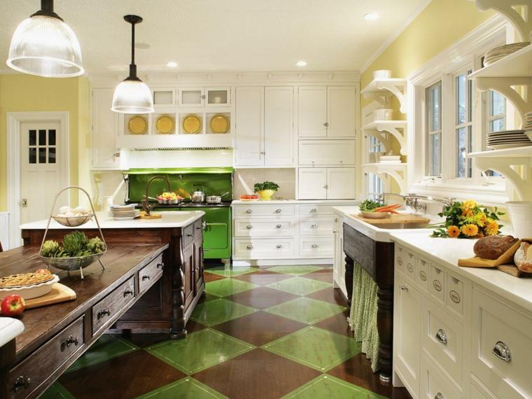 cocina con baldosas verdes