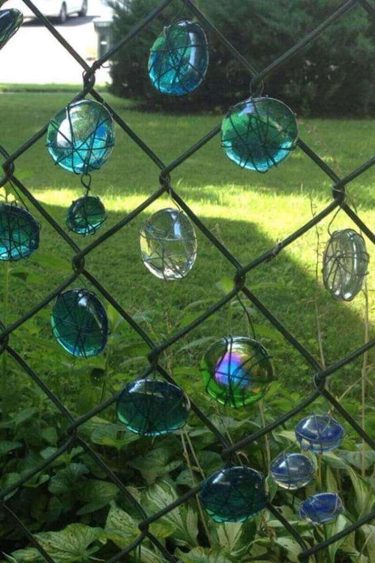 vallas de jardín con cristales