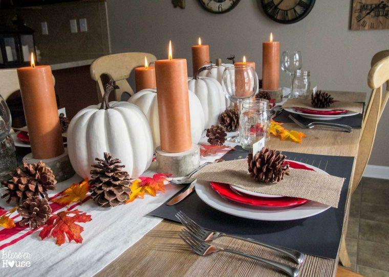decoración de mesa con calabazas