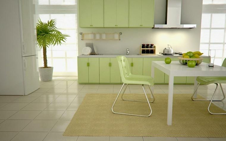 diseño de cocina verde