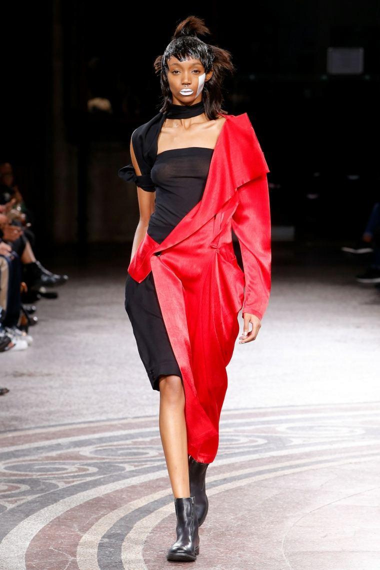 vestido cortes iregulares rojo negro moda