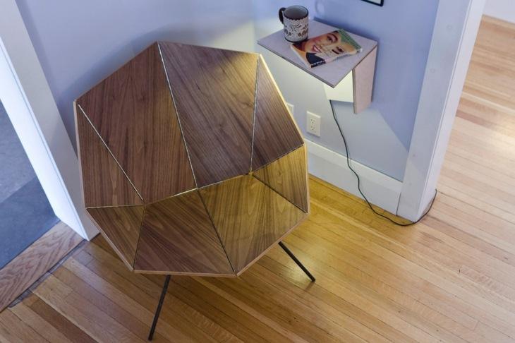 vista superior silla moderna estilo origami