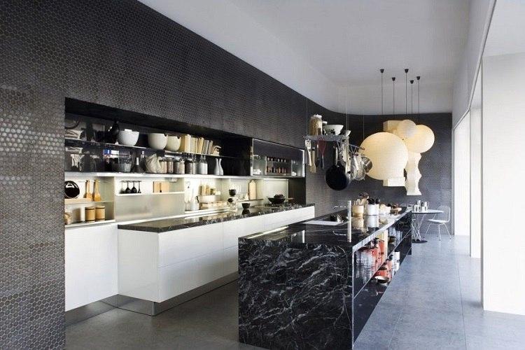 acentos oscuros modernos cocina