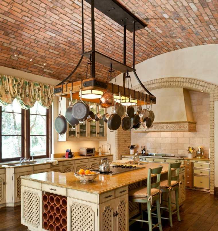 antigüedades rústicas-muebles-rusticos-ideas-cocina-isla