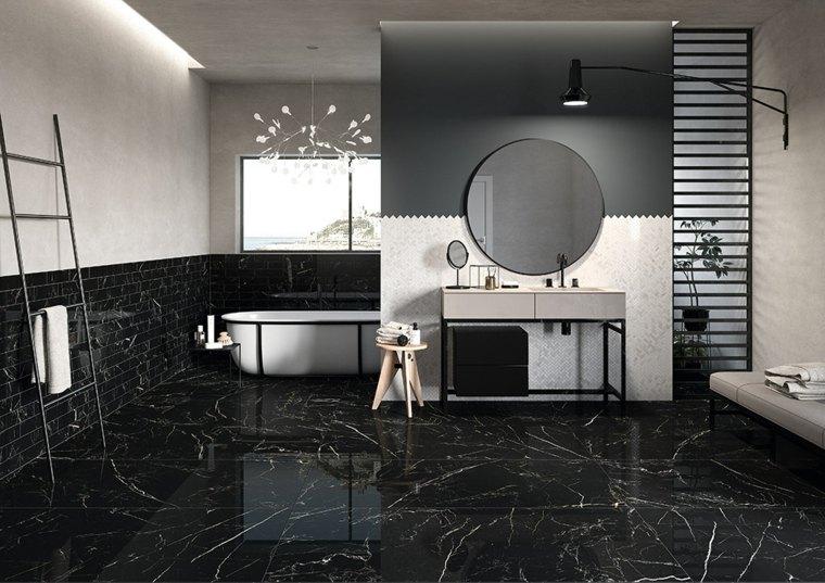 azulejos-cuarto-bano-diseno-Ceramica-Fioranese-efecto-marmol-negro