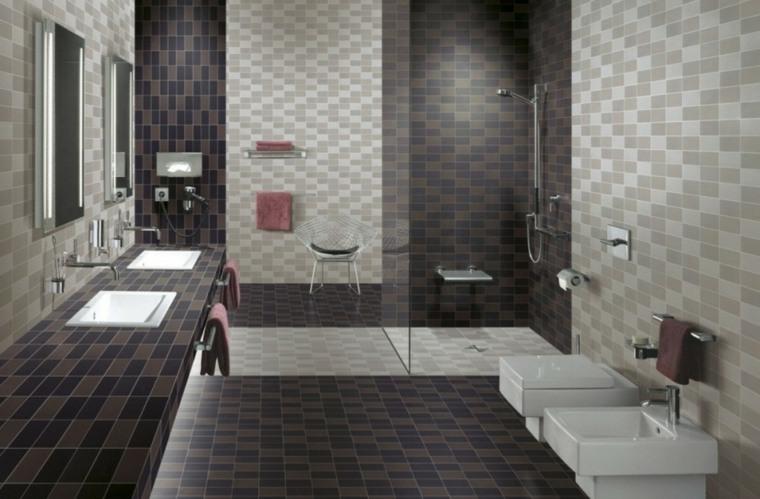 azulejos para cuartos de baño-opciones-combinaciones-frescas