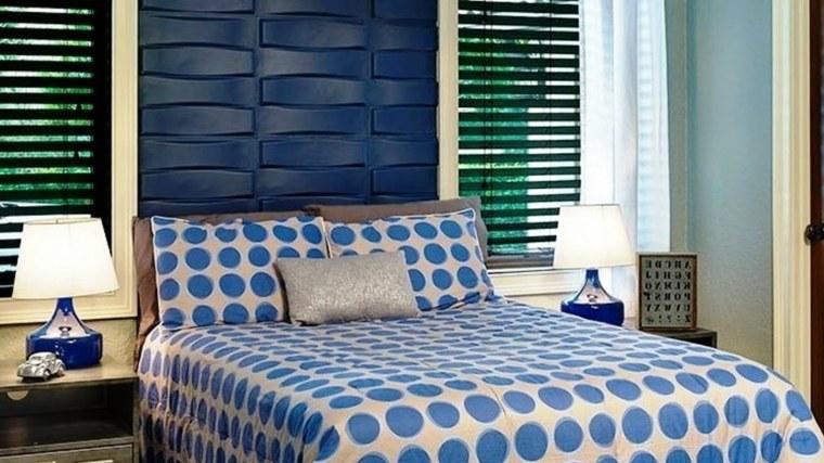 cabecero de cama azul