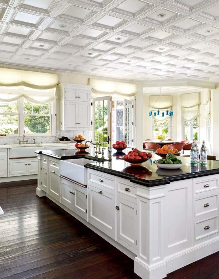 Cocina de granito negro 69 fotos inspiradoras de Cocina blanca encimera granito negra