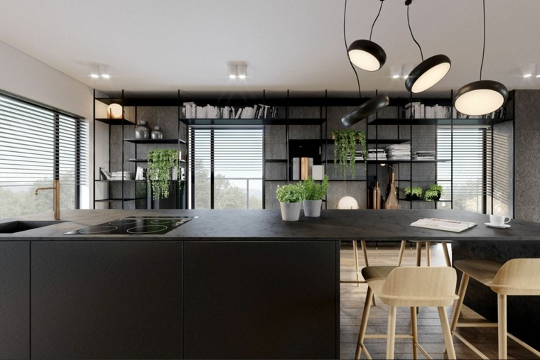 Cocina de granito negro - 69 fotos inspiradoras de espacios elegantes -