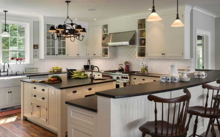 cocina-de-granito-negro-opciones-muebles-destilo-color-blanco