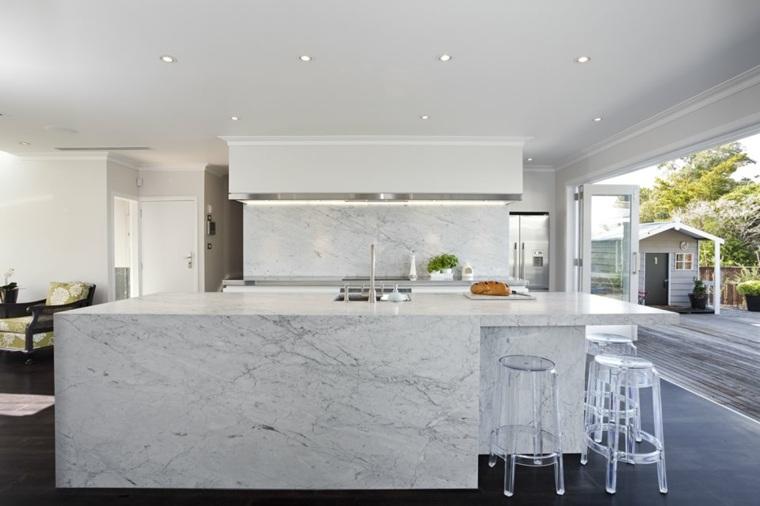 M rmol de carrara en la cocina ideas de dise o para for Color marmol carrara
