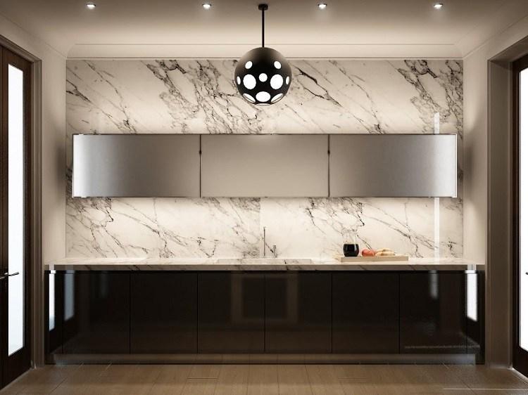 cocina lineal moderna led