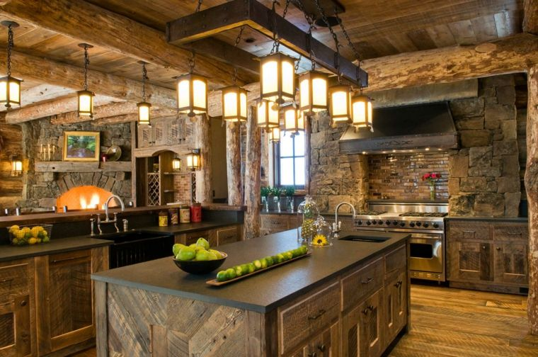 cocina-rustica-isla-estilo-diseno-moderno