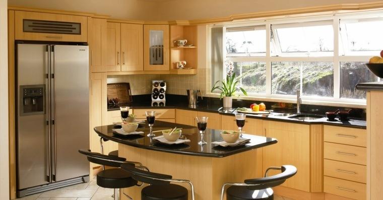 cocina de granito negro-diseno-muebles-madera