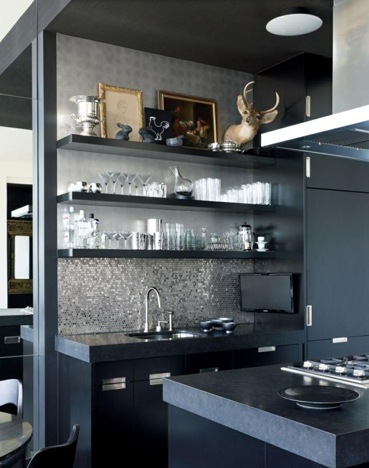 cocina de granito negro-espacios-ideas
