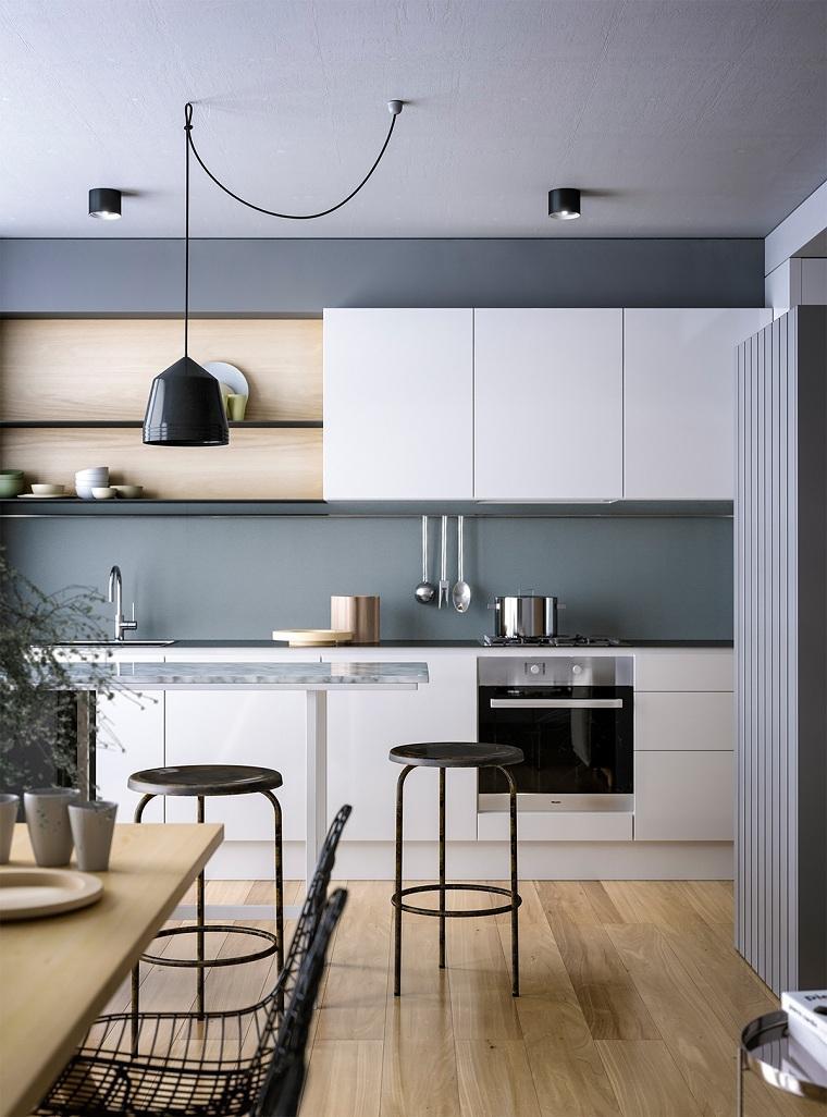cocinas modernas blancas y grises-detalle-madera