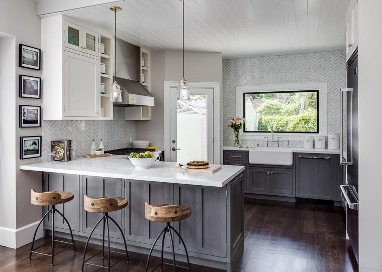 Cocinas modernas blancas y grises 20 dise os inspiradores for Cocinas diseno blancas