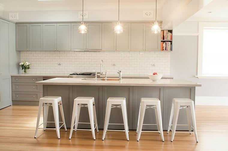 cocinas modernas blancas y grises-diseno-clasico