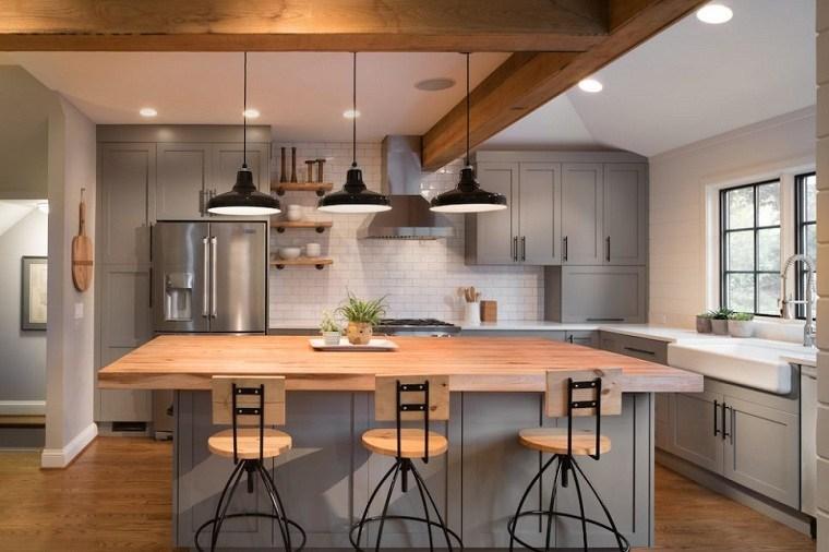 cocinas modernas blancas y grises-diseno-estilo-clasico