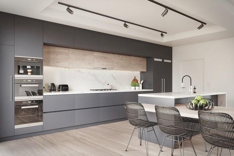 Cocinas modernas blancas y grises 20 dise os inspiradores for Cocina de madera antracita