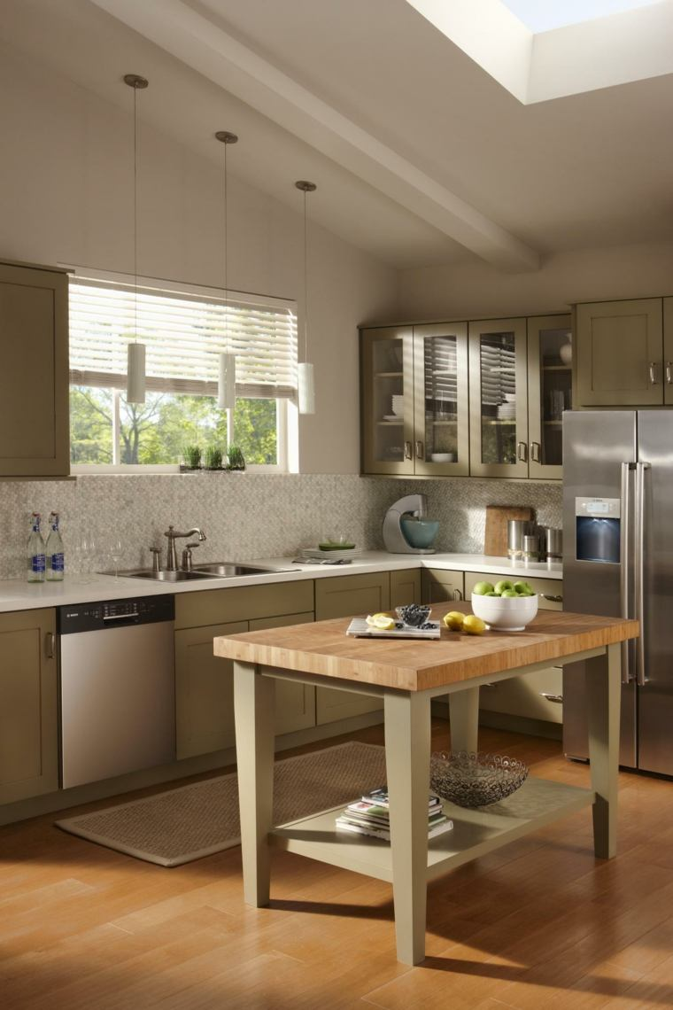 Cocinas peque as con isla 20 ideas en fotos y consejos sobre la elecci n - Colores cocinas pequenas ...