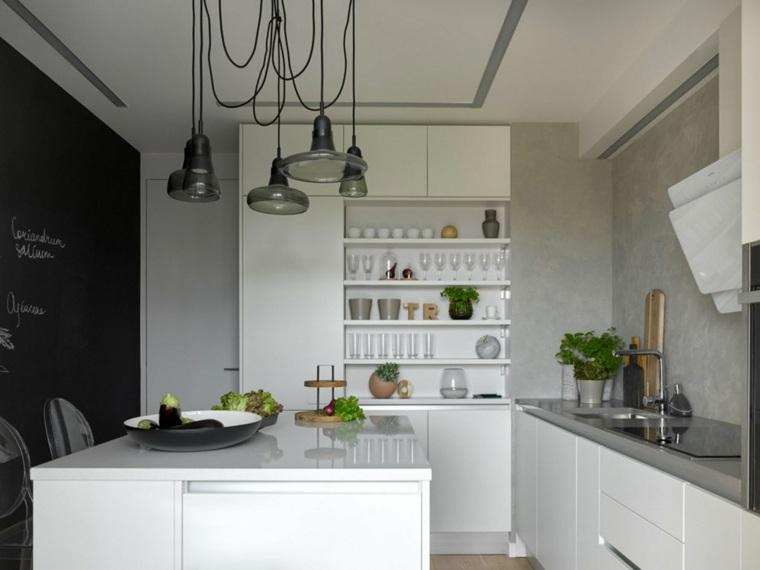 cocinas-pequenas-con-isla-muebles-blancos