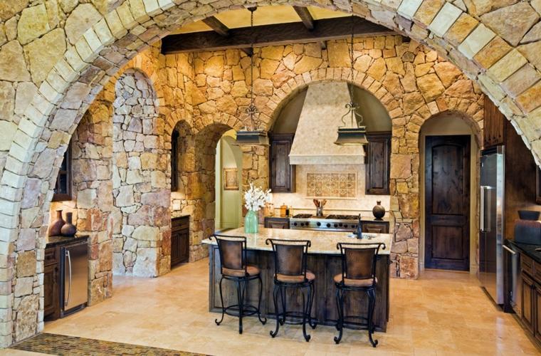 cocinas piedra natural sillas metalicas
