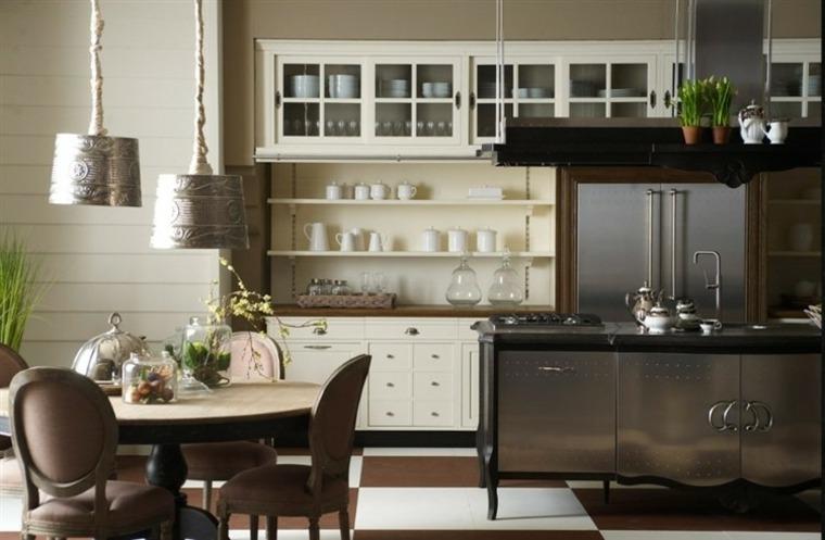 cocinas rústicas-fotos-detalle-isla-acero-estilo-original