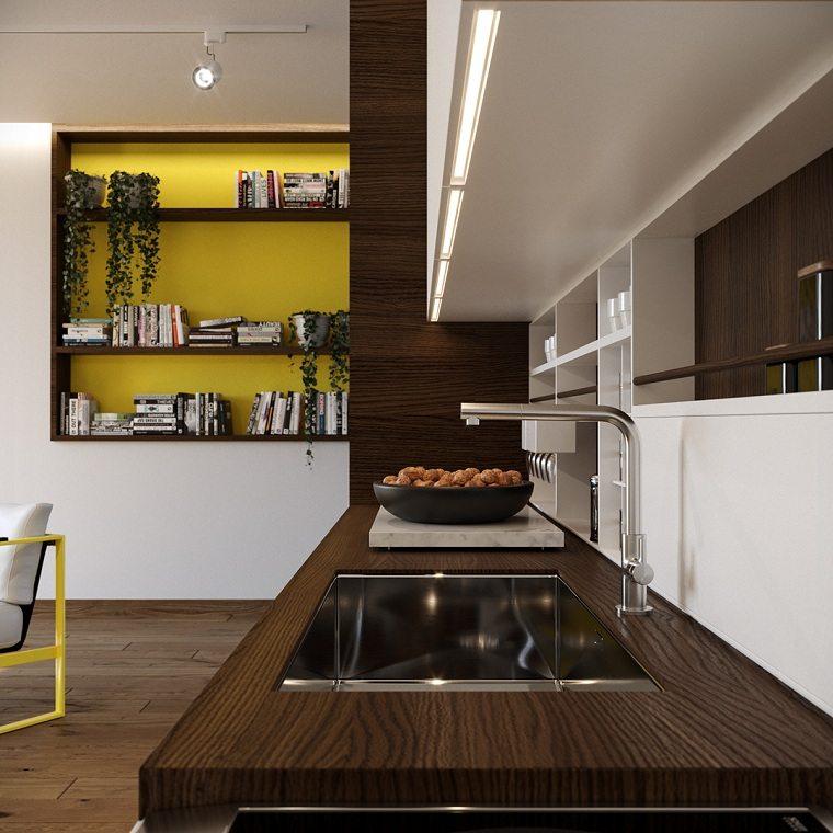 color amarillo-cocina-diseno-pared-estantes