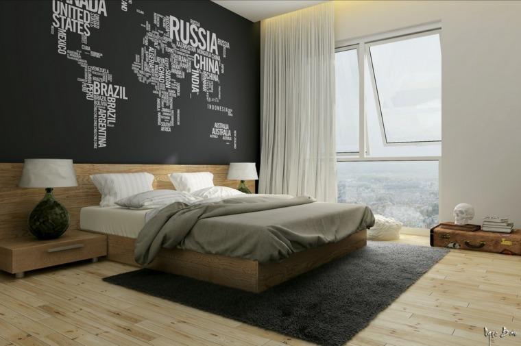 dormitorio con pared de acento oscura