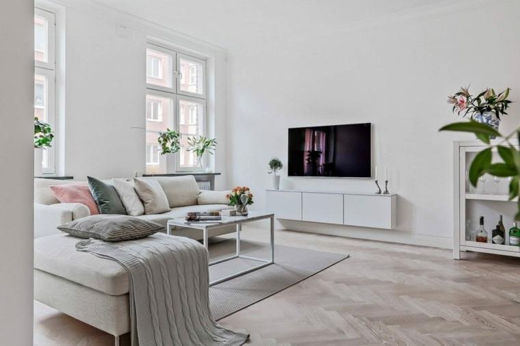 decoración de salones modernos-apartamento-blanco