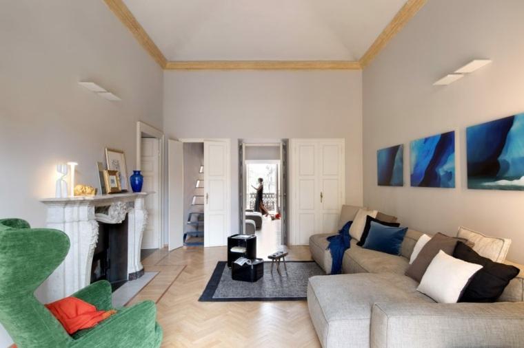decoración de salones modernos-opciones-espacios-largos-estrechos