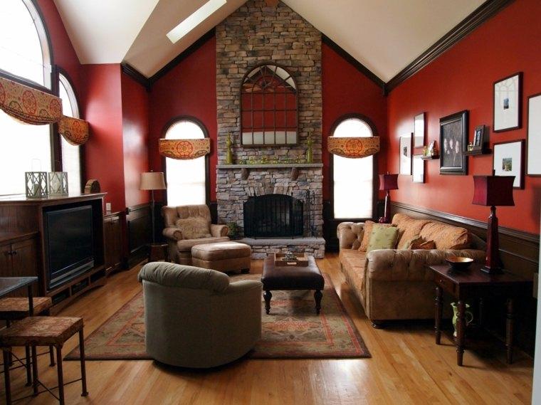 decoración de salones rústicos-estilo-paredes-rojas-chimenea