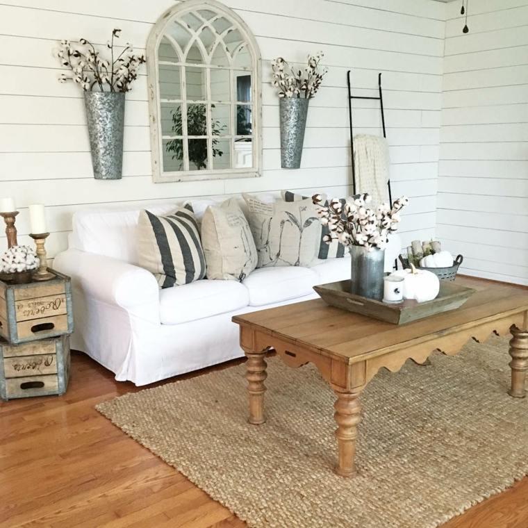 decoración de salones rústicos-ideas-muebles-blancos
