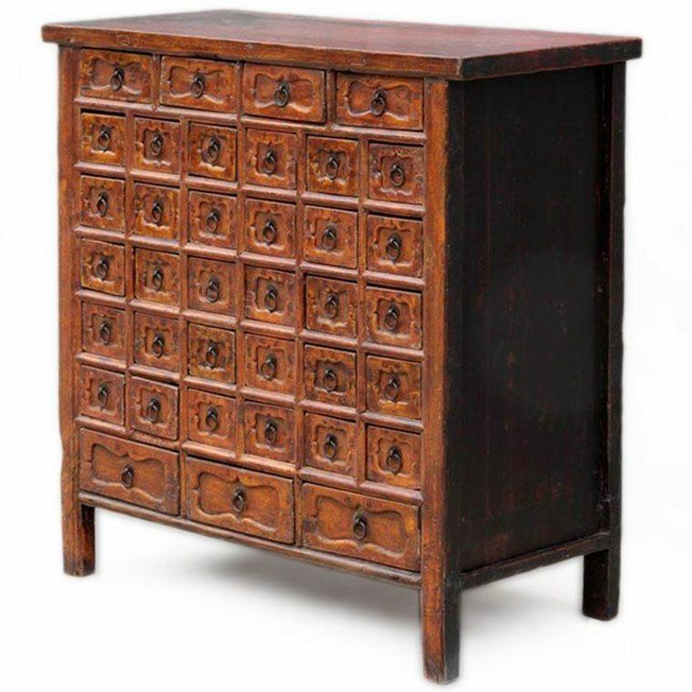 gabinete de boticario vintage de madera