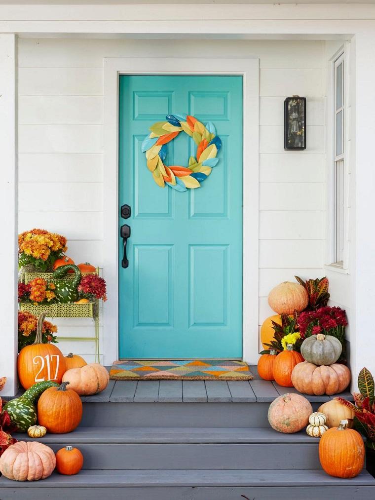 entrada-casa-puerta-guirnalda-papel-hojas-estilo
