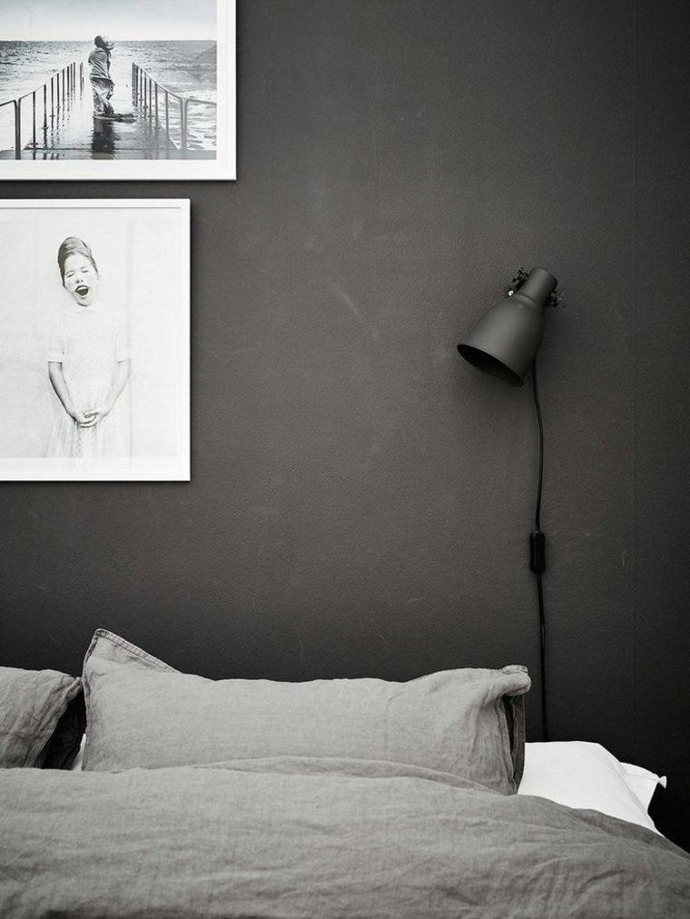 habitación con pared de acento oscura