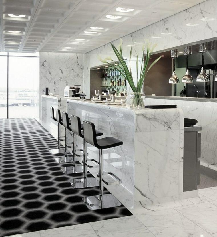 encimeras cocina marmol-cocina-barra-diseno-original-estilo-moderno