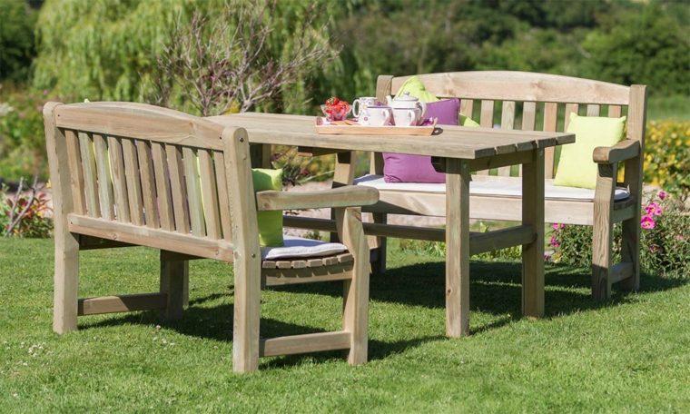 muebles de madera ideas-bancos-mesa-estilo