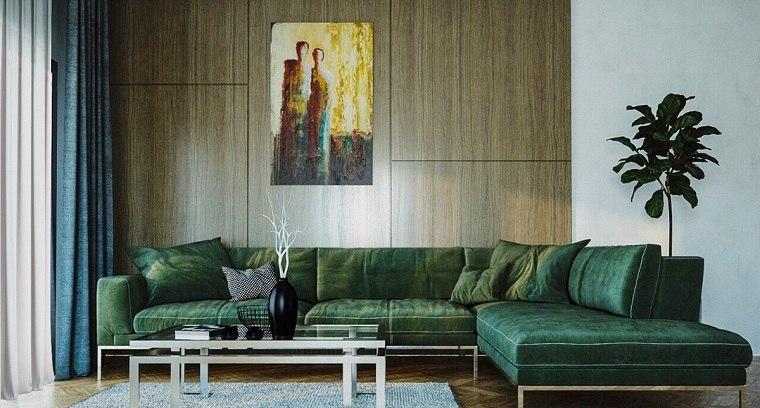 paneles-decorativos-salon-madera-sofá-negro