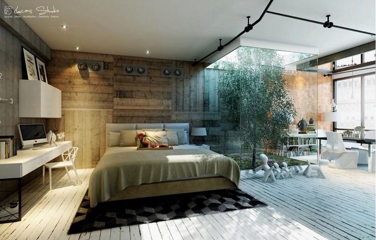 pared de acento de madera