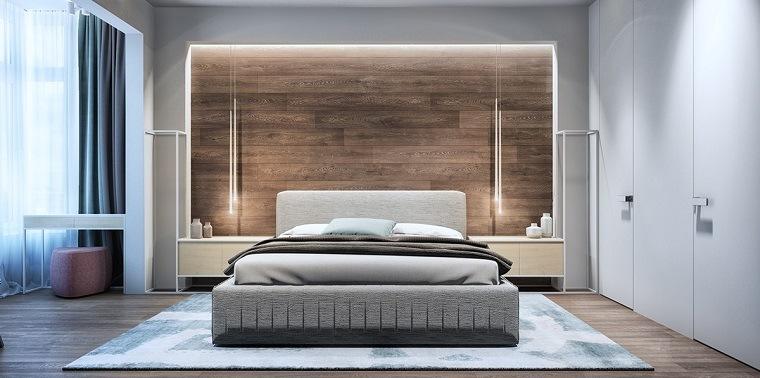 dormitorio con pared de acento de madera