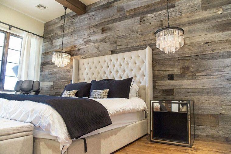 diseño de dormitorio con pared de acento de madera