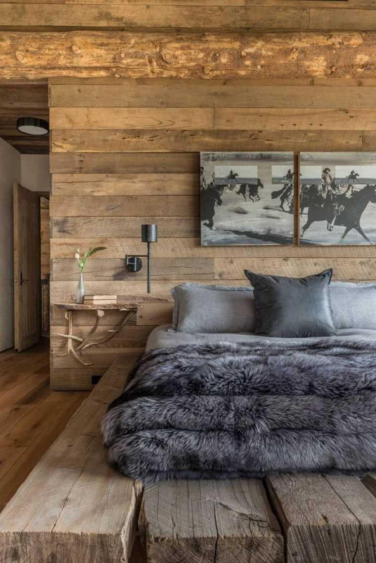 Paredes de madera en dormitorios ideas geniales con un for Mesillas madera natural